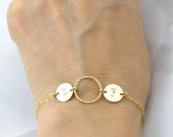 Couple bracelet, Personalized bracelet, Two initial bracelet, Stamped initial, Eternity bracelet, Friendship bracelet, Mother Daughter gift