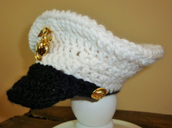 Crochet Baby Marine Hat Pattern : Items similar to USMC-Crochet Marine Corps Baby Cover ...