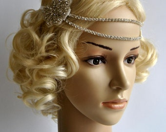 Bridal Rhinestone Headband 1920s The Great Gatsby flapper Headpiece,Bridal 1920s crystal wedding headband headpiece, Rhinestone flapper