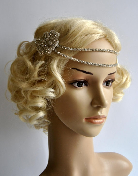 Bridal rhinestone headband 1920s the great gatsby flapper headpiece