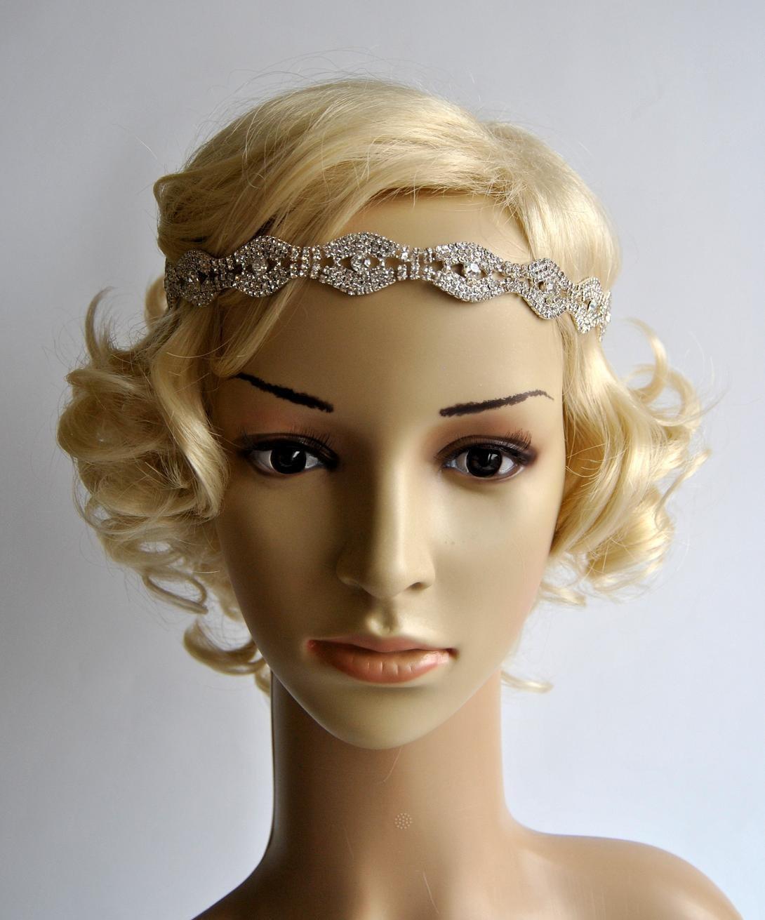 Flapper Headpiece: Rhinestone Headband Great Gatsby Headband Crystal Headband