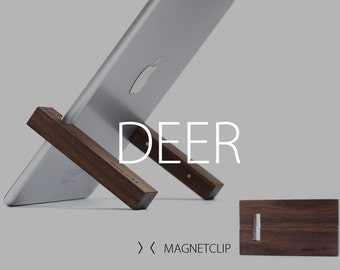 WoodUp DEER | The smartest Travel iPad Stand | solid walnut wood