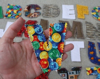 Quilted Alphabet Letters, Uppercase, Gender Neutral Fabrics