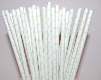 Mint Green Polka Dot Paper Straws - 25/Pack