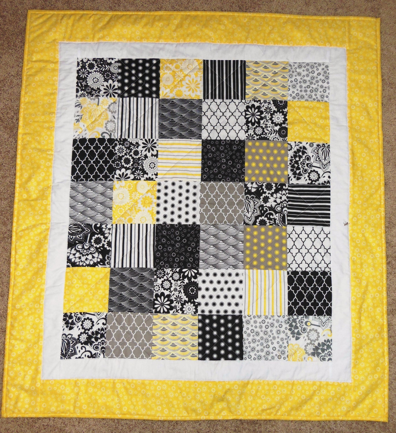 Black White And Yellow Baby Quilt