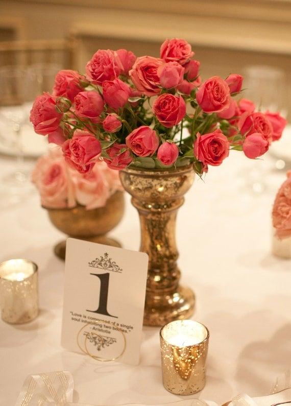 Mercury glass vase urn distressed wedding centerpiece