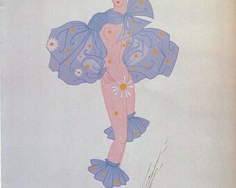 """Erté Print, Art Deco """"Bal Tabarin"""" Le Subjonctif 1935 Original Vintage Art Print. Sumptuous Eye Catching Color"""