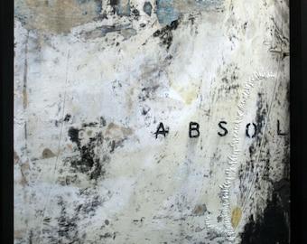 Absol: Mixed Media Original Artwork. Acrylic and enamel paint, thread, graphite. Custom black wood frame w/plexiglass.