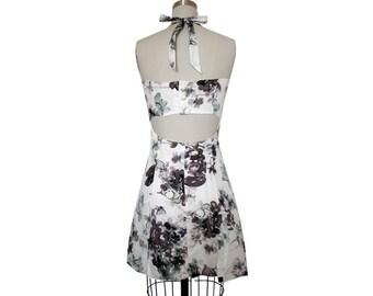 Blue floral dress, sweetheart neck, halter, sweetheart dress, back cutout, button detailing, full skirt, de almeida designs