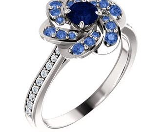 Whirlpool of Stones - Sapphires in 14k