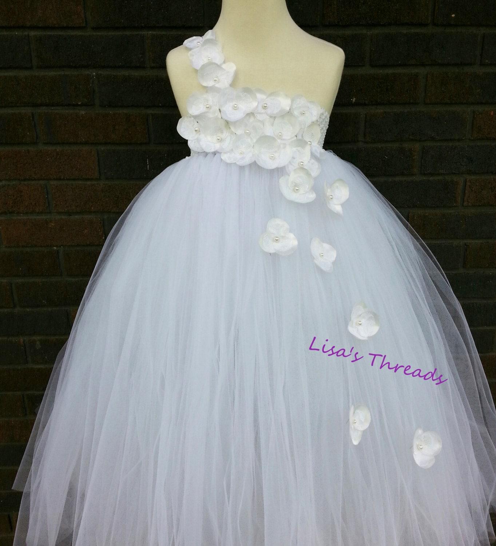 Handmade white flower girl dress Junior by LisasThreads on Etsy