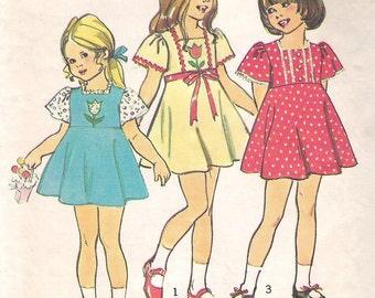 Vintage 1970's Uncut Simplicity Sewing Pattern 6183; Child's Dress Size 6