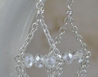 Crystal & Silver Chain Dangle Earrings