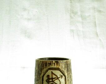 Vintage handmade stoneware planter, Kingo ceramic, Denmark, Zodiac: Sagittarus.