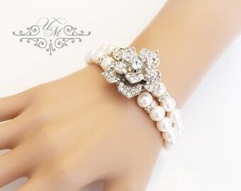 Wedding Jewelry Swarovski Pearl Bracelet Double strands Pearl Rhinestone Rose Silver Bracelet Bridal Jewelry Bridesmaids jewelry - ROSE