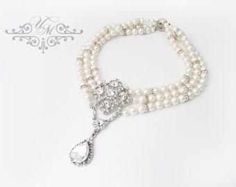 Wedding Jewelry Triple strands Swarovski Pearl Necklace Rhinestone teardrop Necklace Bridal Necklace Bridesmaids Necklace - NAOMI TECA