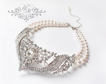 Wedding Jewelry Rhinestone Necklace Double strands Swarovski Pearl Necklace Bridal Necklace Bridal Jewelry Bridesmaids Necklace - BIANCA