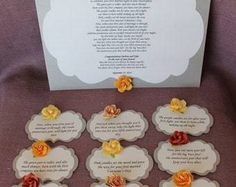 ... Bridal candle basket Poem and Tags. Sentimental wedding gift.Shower