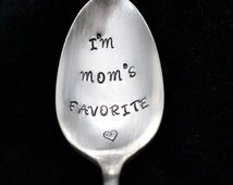 Stamped Spoon,  I'm Mom's Favorite, Personalized Vintage Silverware, English Garden Silver Plate, Funny Spoons