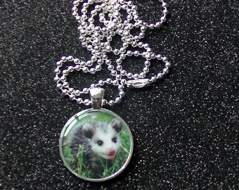 Opossum Necklace Adorable Pink Nosed Baby Opossum Silver Resin Metal Round Pendant Necklace - MADE TO ORDER