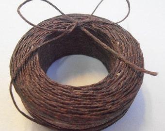 45 yd 3 Ply WAXED Linen - DARK BROWN Bead Cord - Thread  .4mm dia