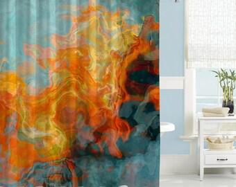 Abstract Shower Curtain Contemporary Bathroom Decor Orange Yellow And Aqua Waterproof Fabric
