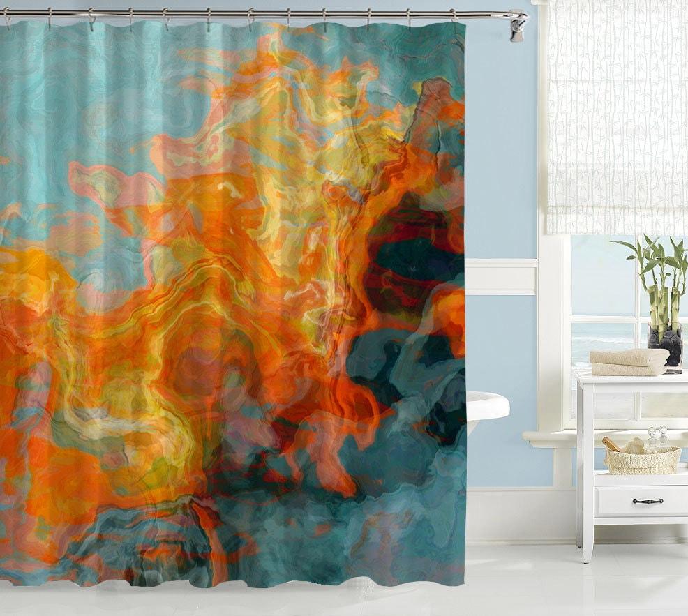 Abstract Shower Curtain Contemporary Bathroom Decor Orange