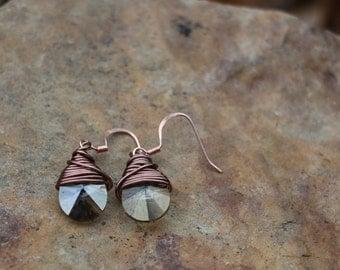 Copper Wire Wrapped Crystal Teardrop Earrings