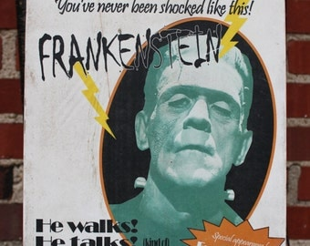 Frankenstein Coming Soon Wood Sign - Personalized and Perfect for Halloween