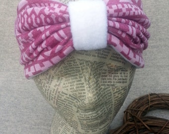 CLEARANCE! Turban Headband Earwarmer  Violet print & White polar fleece. Ear warmer Bandana