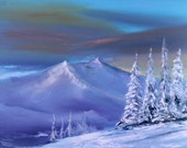 Blue Snow mountain side modern oil painting Gift for father peaceful house decor anniversary art gift for husband flanc de la montagne й25