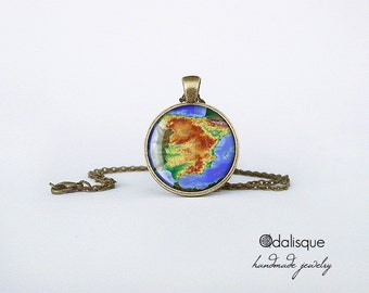 Spain Necklace, Spain Map Pendant, Spain Jewelry