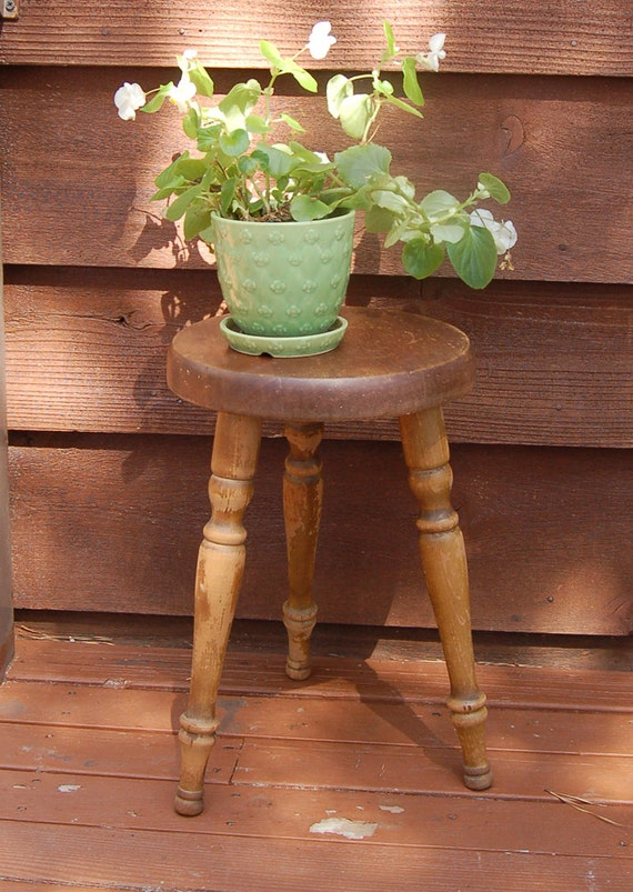 Tall Wooden Stools ~ Vintage cornwall wood stool tall wooden plant stand