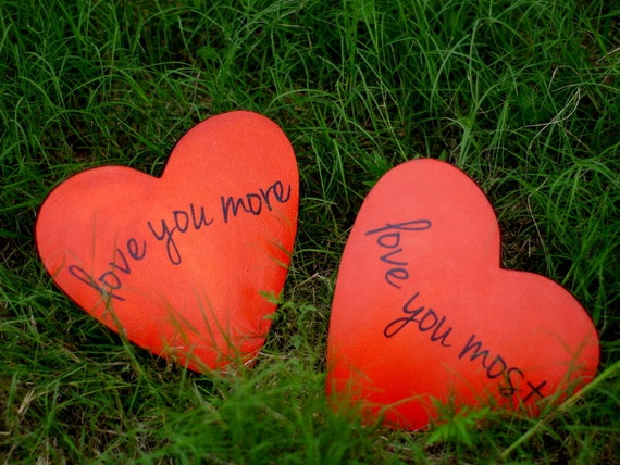 Love You More/Love You Most-Pair of Heart Signs- with Acrylic Paint, Mod-Podge, and Protective Gloss Coating