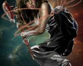 Buffy the Vampire Slayer - Faith Lehane Original Painting (Poster Print) Angel Eliza Dushku