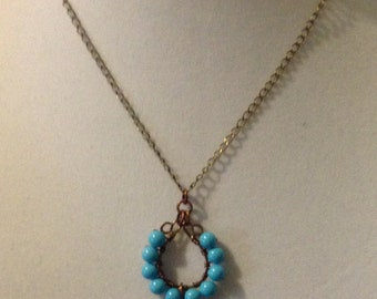 Chalk Turquoise and Handmade Pendant Necklace N6151715