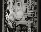 Black and White Photograph, Diorama, Bedroom scene with female nude and curious decoration