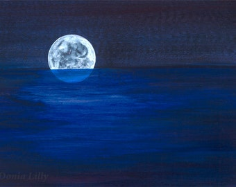 Midnight blue, navy, black, white, cobalt night sky & sea moon art metal print of painting by Kauai Hawaii artist Donia Lilly: Moonrise II