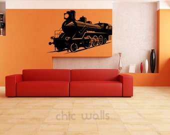 Old Steam Engine Removable Wall Art Decor Decal Vinyl Sticker Mural Train
