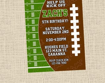 Football birthday boy or girl birthday printable invitation any colors UPrint customized card by greenmelonstudios