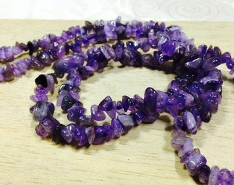 Amethyst Chips Beads Strand, Size 5-8 mm (GC 03)