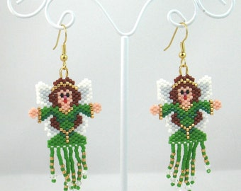 Beaded Green Fairy Fringed Earrings