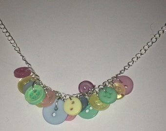 Pastel Button Charm Necklace - Upcycled OOAK Pink, Lilac, Blue, Yellow, Green