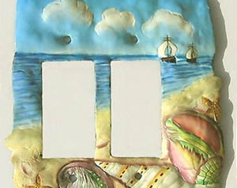 Sea Shell Switchplate - Hand painted metal rocker light switch plate cover - Handcrafted in Haiti - Switch Plate Covers - SR-1129-2