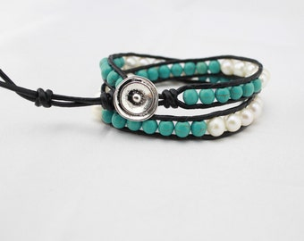 ETS-B0040 turquoise braceler, turquoise bead bracelet, freshwater pearl bracelet, leather pearl bracelet,  leather wrap bracelet ,1 piece