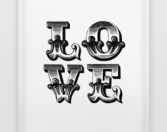 love print // black and white love print //  typographic love print  // anniversary gift // love poster