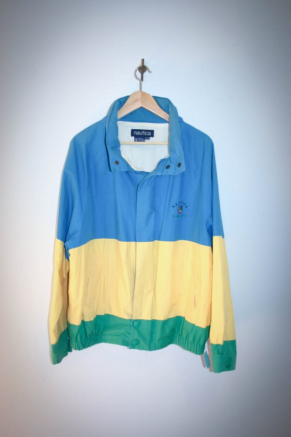 90's nautica jacket++colorful jacket.