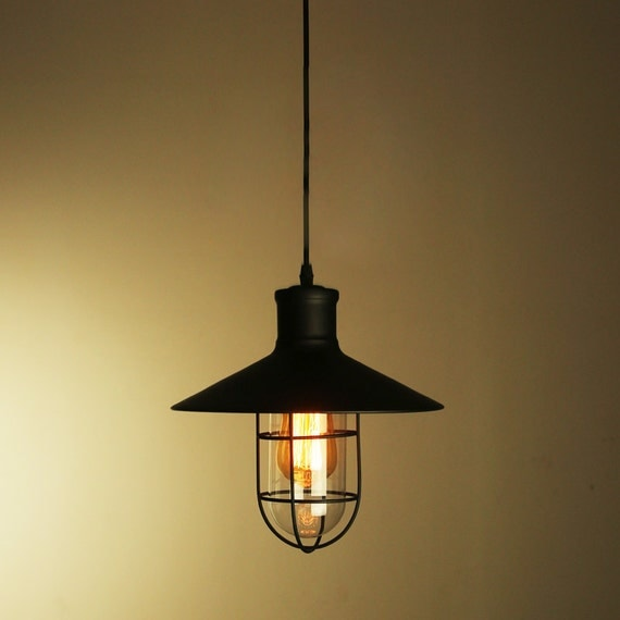 industrial metal cage pendant lamp lampshade or by. Black Bedroom Furniture Sets. Home Design Ideas