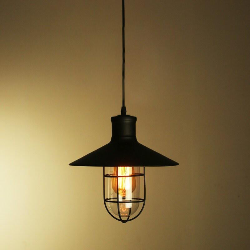 Industrial metal cage pendant lamp lampshade or full set - Lamparas industriales colgantes ...