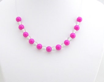 Necklace for young girl, vibrant purple beads, stainless steel